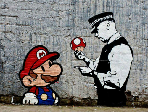 "Banksy, Super Mario, Graffiti Art, Giclee Canvas Print, 8""x12"""