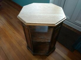 Antique 1920/30s solid oak octagonal side table