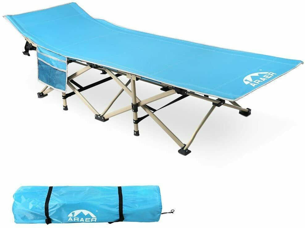 Camping Cot, 450LBS, Portable Foldable Outdoor Bed with Carr