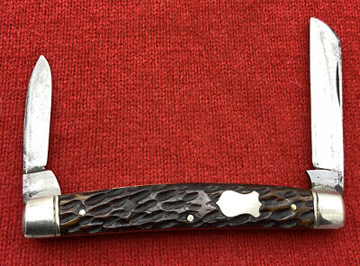 Vintage ELECTRIC CUT.CO. Half Congress Pocket Knife c.1910-1920 Jigged Bone Stag