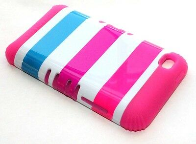 iPod Touch 4th Gen - HARD & SOFT RUBBER HYBRID ARMOR CASE HOT PINK WHITE STRIPES Ipod Touch 4 Hybrid