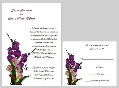 Calla Lily Wedding Invitation (100 Personalized Custom Calla Lily Floral Bridal Wedding Invitations Set )
