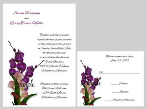 100 Personalized Custom Calla Lily Floral Bridal Wedding Invitations Set