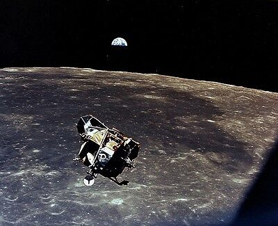 Apollo 11 Lunar Module Space Vehicle Over The Moon NASA Photo Picture