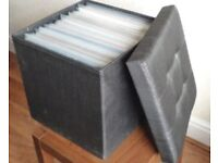 """Record Storage Stool Holds 50+ 12"""" Records etc. Grey 3 for sale"""
