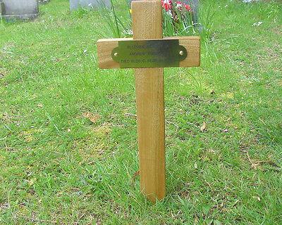 "Wooden Memorial Cross Grave Marker Oak 17"" & Free Plaque & Free Engraving"
