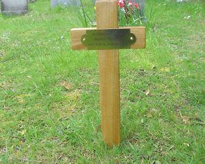 Wooden Memorial Cross Grave Marker Oak 17