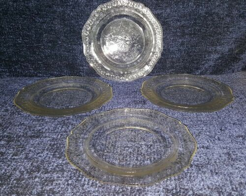 "RARE Set of 4 Federal Patrician Spoke Clear Salad Plates 7.75"" - NICE!"