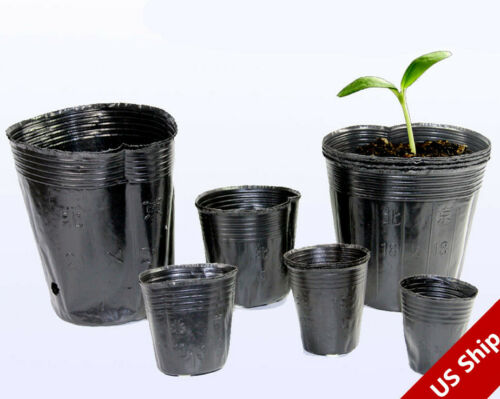100 Pack Nursery Pots Outdoor Vegetable Flower Plant Plastic Pot Garden US Ship