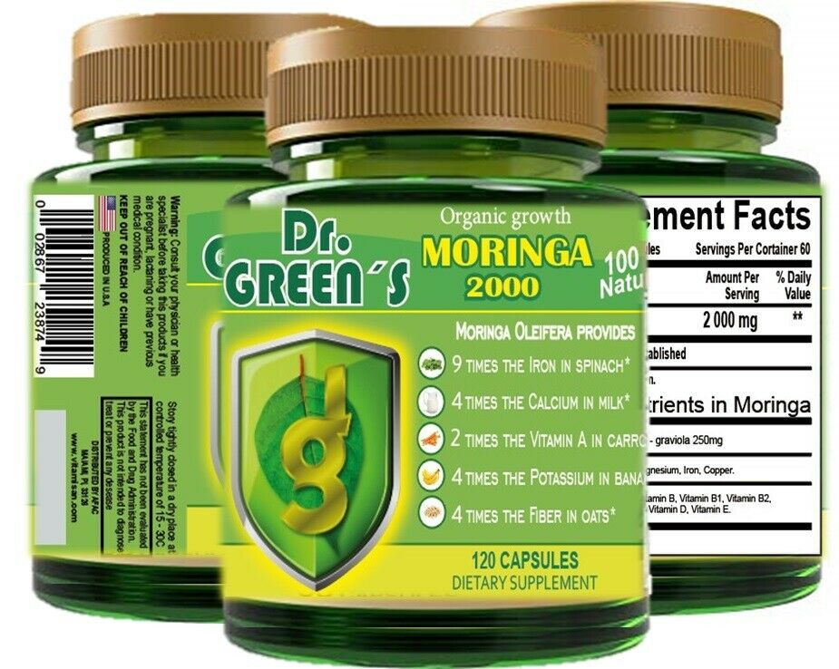 120 capsules MORINGA OLEIFERA LEAF powder 2000 -PHIL-  FREE SHIP pure moringa 2