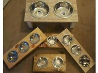 NEW Luxury Pet Bowl Feeders Wooden - VARIOUS Colours & Sizes #Dog #Cat