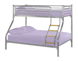 Metal double bunk bed ebay for Bunk bed with double on bottom