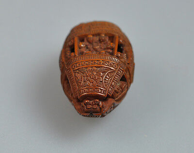 FRUIT PIT CARVING BOAT POEM HEDIAO SU DONGPO CHINESE CHIBI QING CHINA 19TH C.