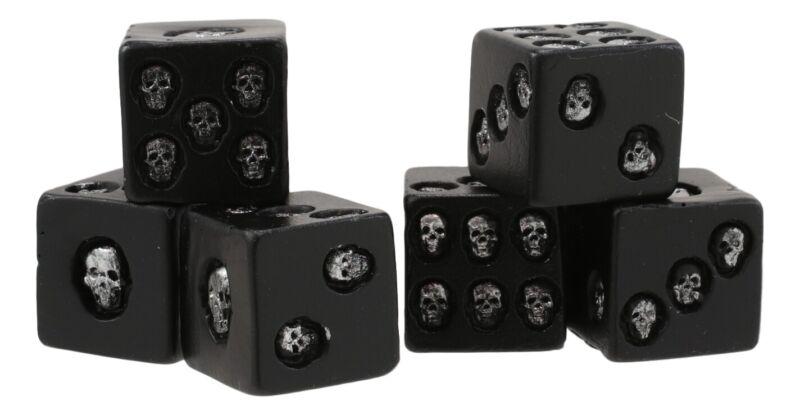"Large Decorative 0.75"" Cube Skull Face Gaming Dice Set of 6 Matte Black Finish"