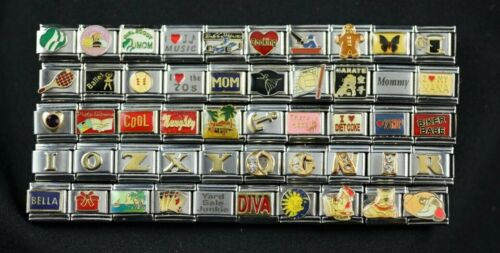 Italian Charms 50 Assorted Stainless Steel Wholesale Lot 9mm (C50-9017) Variety