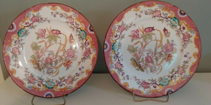 6 Antique French Faience Luncheon Plates. Pink Floral Pattern.