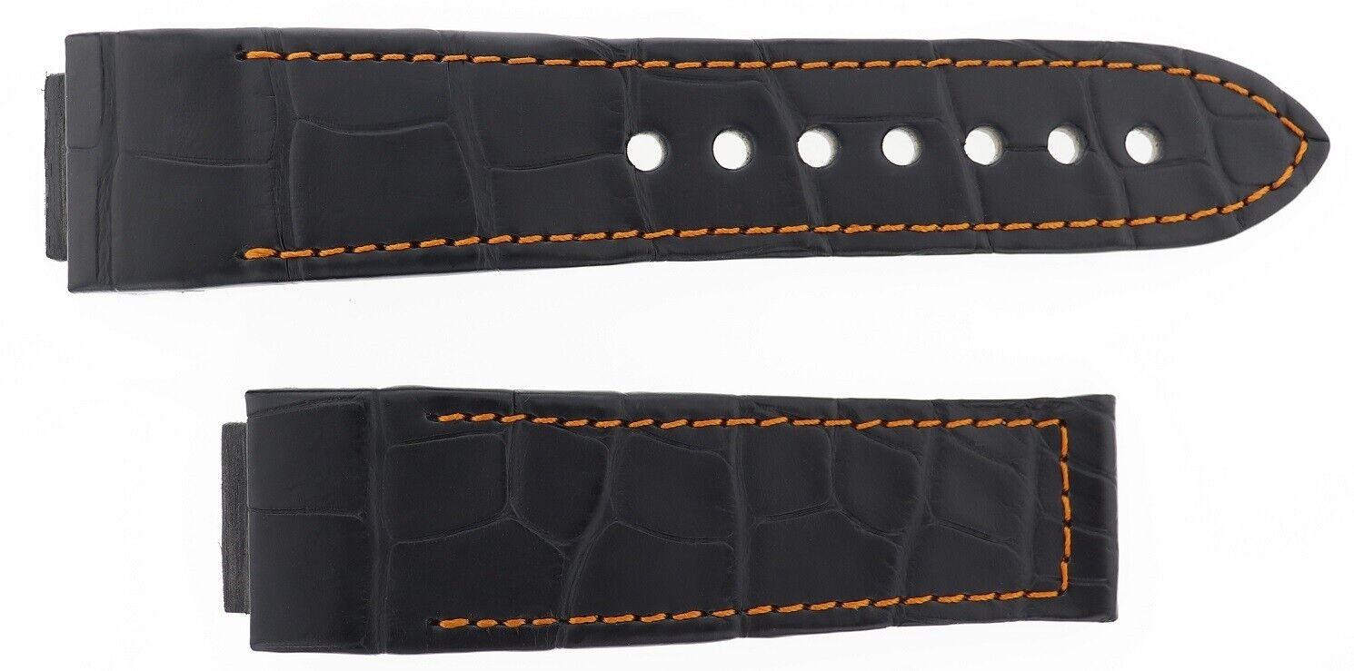 Hysek Herren Uhrenarmband Leder Schwarz 24mm X 21mm