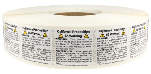 "1.5"" Square California Proposition 65 Labels   5,000 Bulk Pack"