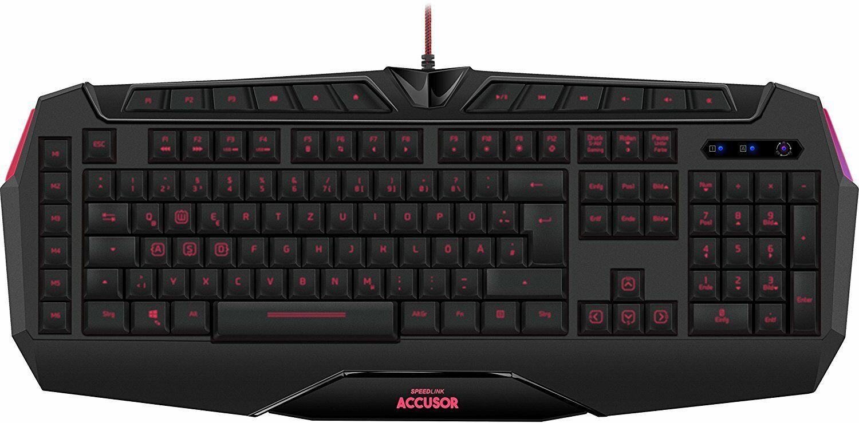 Speedlink ACCUSOR Gaming DE-Layout Tastatur beleuchtet USB Keyboard 3-4-2-2848