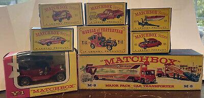 Lot of 8 Matchbox Lesney Cars #13, #32, #48, #65, #71, Y-1, M-8, Y-11 MINT! NIB