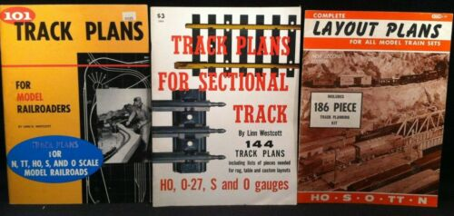 Lot of 3 Vintage Layout and Track Plan Booklets for Model Train Sets Railroading