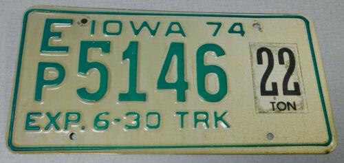 1974 Iowa truck license plate