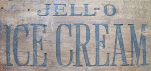 JELL-O ICE CREAM Old Wood Crate Box Panel Advertising Sign Genesee Food Leroy NY