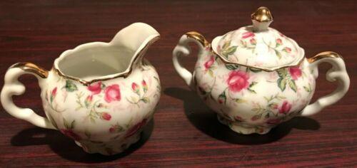 Vintage Lefton China Mini Creamer and Sugar Set Hand Painted Pink Roses