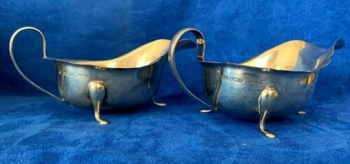 Pair Antique E. Viners English Sterling Silver Sheffeild Sauce Boat