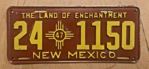 """1947 NEW MEXICO AUTO LICENSE PLATE """"  24 1150 """" NM 47  ALL ORIGINAL CONDITION"""