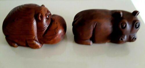 Pair of Hippos, Carved Wooden Hippopotamus Figurine Sculptures
