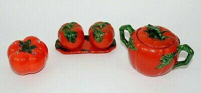 Vintage 1940s Japan Tomatoes Shaped Shakers Collectible 5 Pieces Set Decorative  5 Piece Tomato