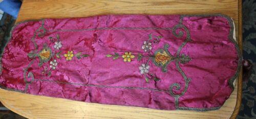 Antique table runner buffet Server Floral raspberry Pink tassels Vintage textile