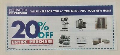 BED BATH BEYOND Save 20 Off ENTIRE Purchase Coupon Through 9/1/2020 - $4.99