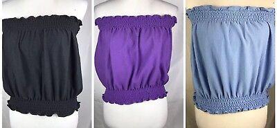 Plus Size 80s Fashion (Vtg 80s Rare JoRo Fashions Tube Tops Ruffle Elastic Modern XL Purple Blue)