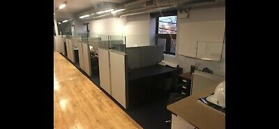 36x62 Knoll Partitions 5 Total W Glass Accent 4 Cubicles 1 Stand Alone