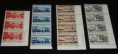 Schweiz 1938 Mi. 321 - 324 Bogenzählnummern & 2 Abarten 322 III & 323 I