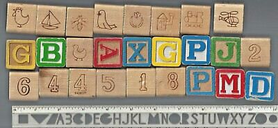 26 VINTAGE CHILD WOOD BUILDING ALPHABET BLOCKS NUMBER/LETTER/TOY FIGURES/ABC