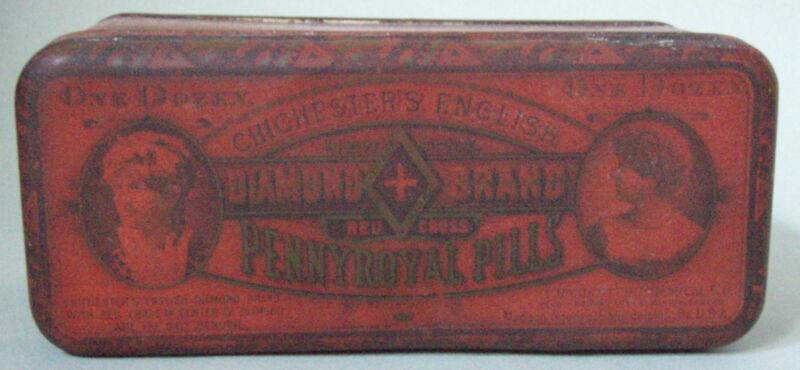 1888 DIAMOND BRAND PENNYROYAL PILLS FEMALE QUACK MEDICINE ADVERTISING TIN EXCL