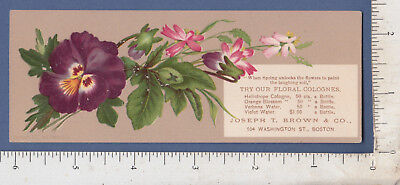B551 Joseph T. Brown Cologne trade card bookmark Reginald Heber hymn L. Prang for sale  Brattleboro