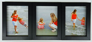 4x5 4x6 5x7 8x10 matte black wood picture photo frame triple hinged new ebay. Black Bedroom Furniture Sets. Home Design Ideas