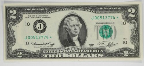 1976 SERIES $2 FEDERAL RESERVE STAR NOTE KANSAS CITY CU CHOICE UNCIRCULATED