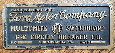 Antique 1938 Ford Motor Company Bronze Sign Electric Advertising Car Plaque