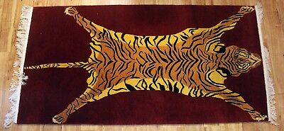 Red Stripe Teppich (Wool Tibetan Tiger Rug Carpet 3x6' pelt skin stripe red Tibet Nepal Nepali large)