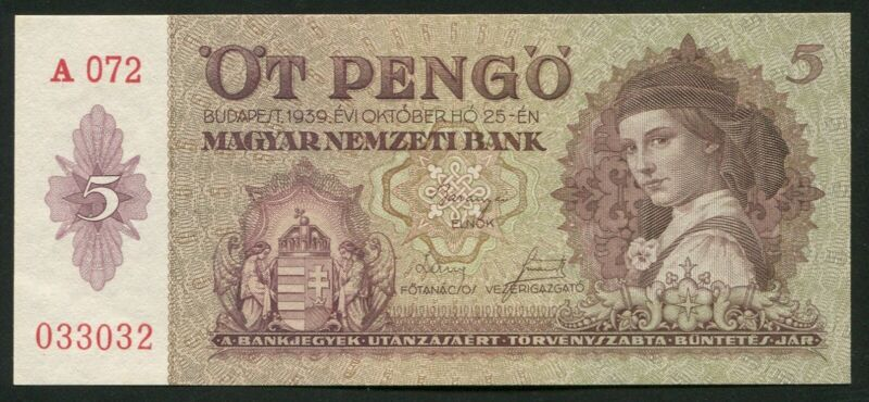 Hungary 5 PENGO 1939 P#106 banknote UNC