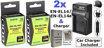 2-Pc EN-EL14a Battery + Charger For Nikon D5300 D5500 D5200 D3300 D3200 D3100 Df for sale  Shipping to India