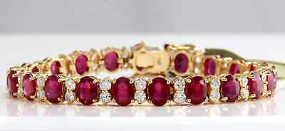 Estate 28.30Ct Natural Ruby and Diamond 14K Solid Yellow Gold Bracelet