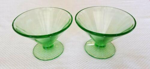 "Set of 2 ~  Federal Vaseline Uranium Green Paneled Footed Sherbet  - 5 1/4"" Tall"