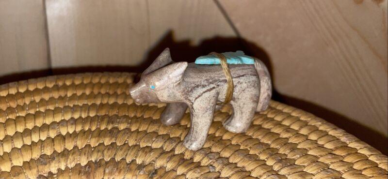 Arrowhead Gray Fox Fetish with Turquoise Arrowhead