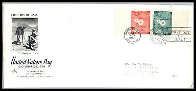 1958 UNITED NATIONS FDC Cover - UN Day, Farming, New York S6